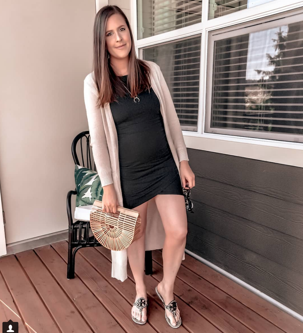 LBD - Dress: NORDSTROM (best, most flattering, comfiest dress you'll ever own) // Duster: OLD NAVY // Bag: AMAZON // Shoes: TORY BURCH // Necklace: Gorjana