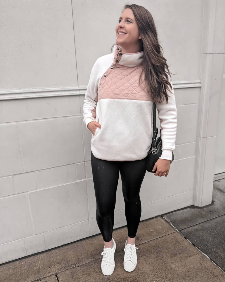 Athliesure Errands - This sweatshirt was the best purchase I've made this month! It runs TTS,is exrtra,super cozy and comes in a bunch of colors, I want the black/grey one too. I found 2 amazing dupes for these Spanx faux leather leggings that are also made by Spanx but a fraction of the price of these babies. I'm glad I finally invested in the real thing this year though, they are truly the most flattering item of clothing I own. They suck everything, and I mean EVERYTHING in.SWEATSHIRT // LEGGINGS [Affordable dupe HERE & HERE] // SHOES [TTS]