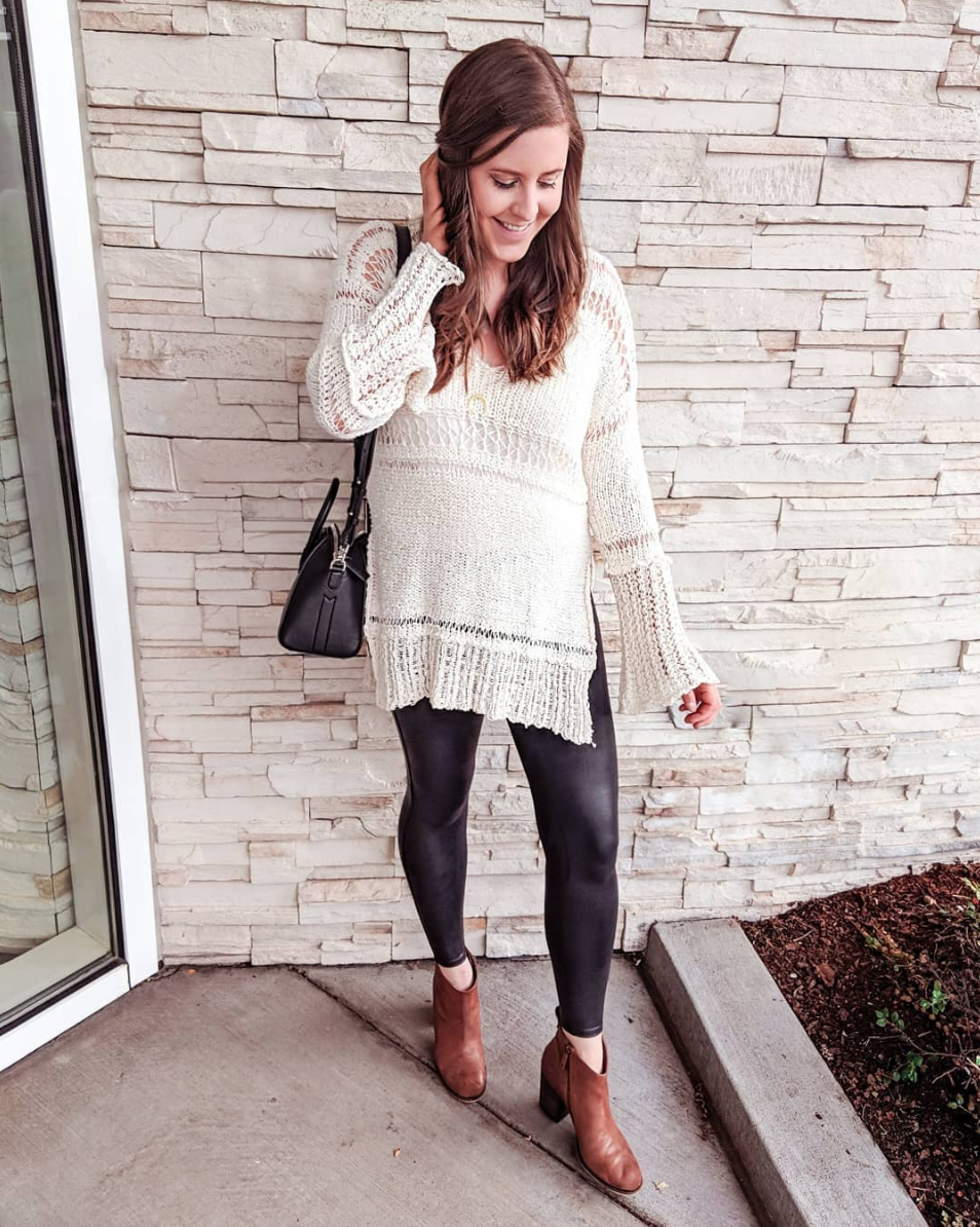 Free People - This sweater went on major sale this week too! It is very limited in quantity, so grab your size while it's available! Same amazing Spanx leggings and same amazing fav booties!SWEATER // LEGGINGS // BOOTIES //