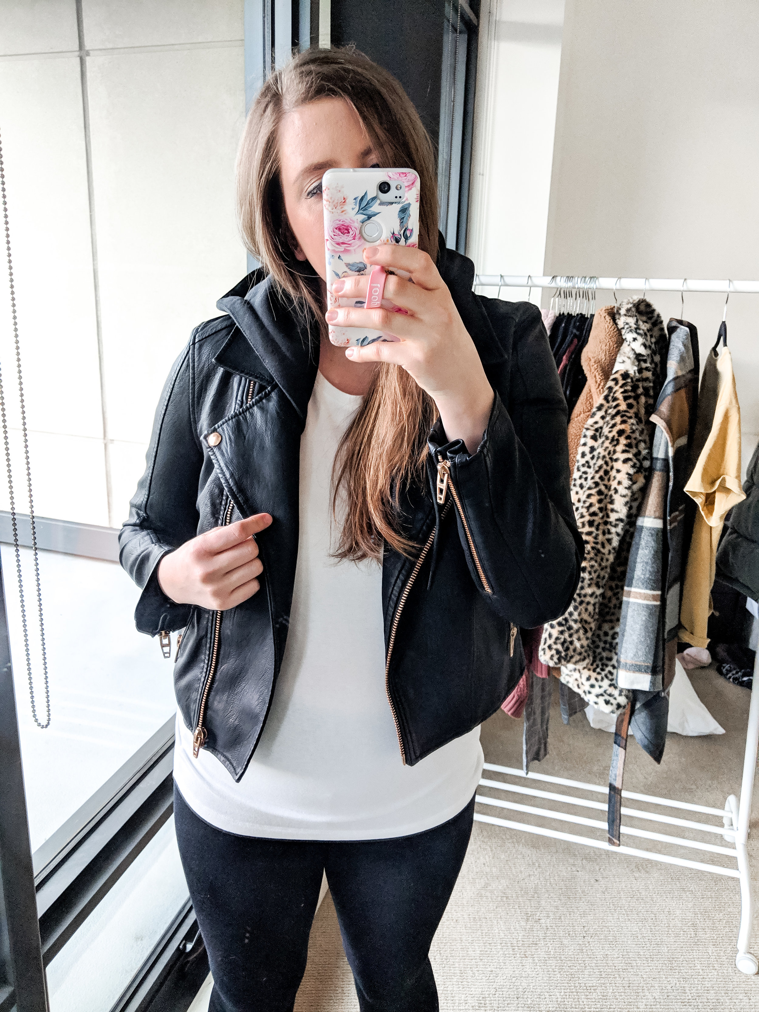 leather moto jacket athleisure outfit stylebyjulianne
