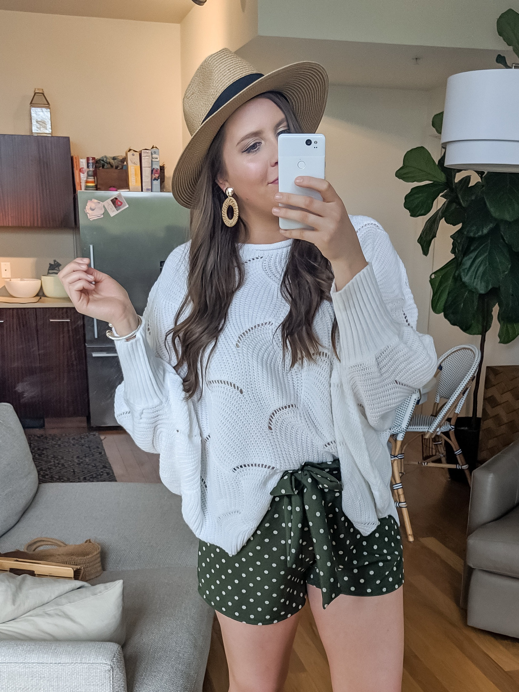 Outfit Details:   HAT   //   EARRINGS   //   SWEATER   //   SHORTS   //  Wear just a couple of natural elements like this hat and these earrings if you're unsure how to pair items, just start with one until you're more comfortable mixing and matching textures and colors!
