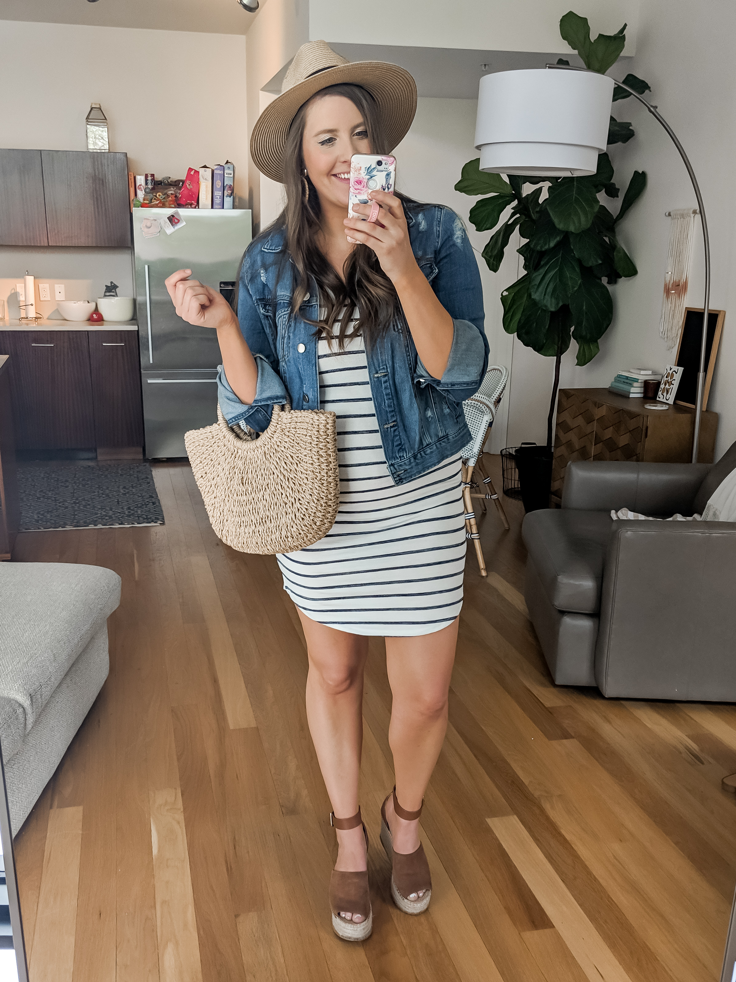 Target Striped Dress and Denim Jacket Spring Outfit