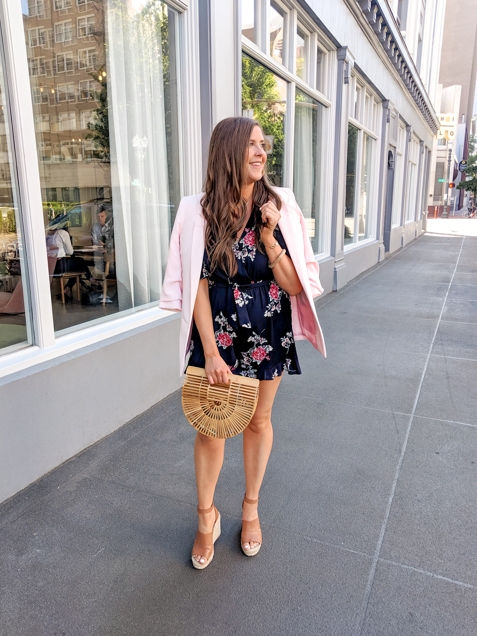 Floral Romper and Blush Blazer Outfit