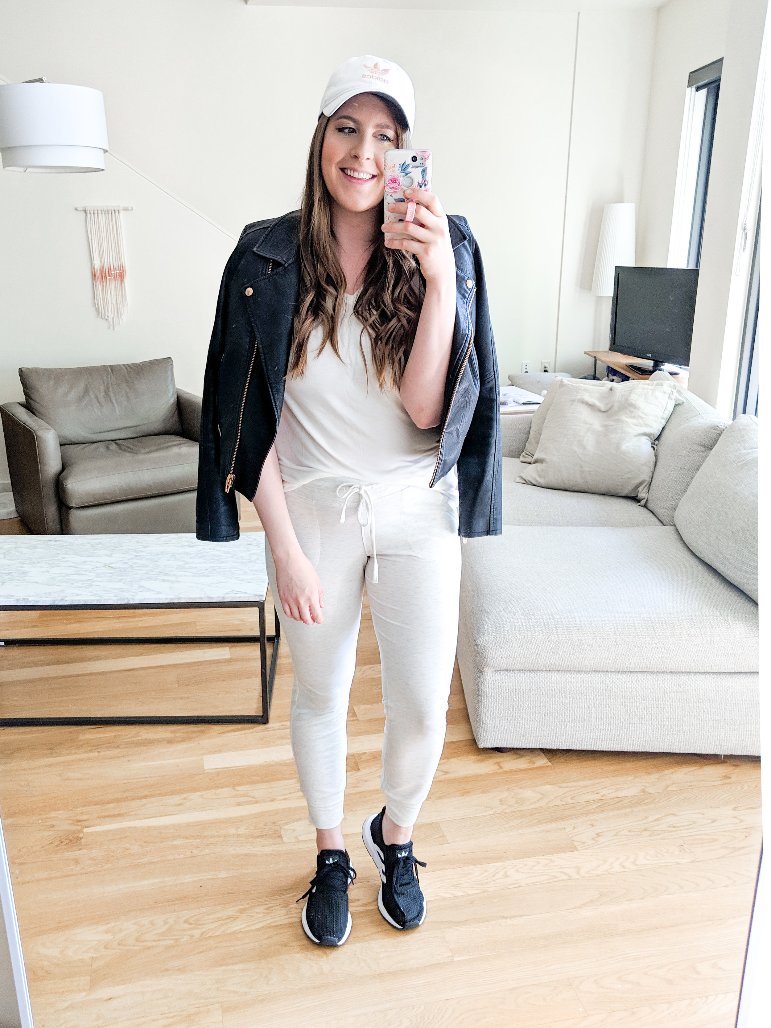 Athleisure Outfit White Joggers and Moto Jacket