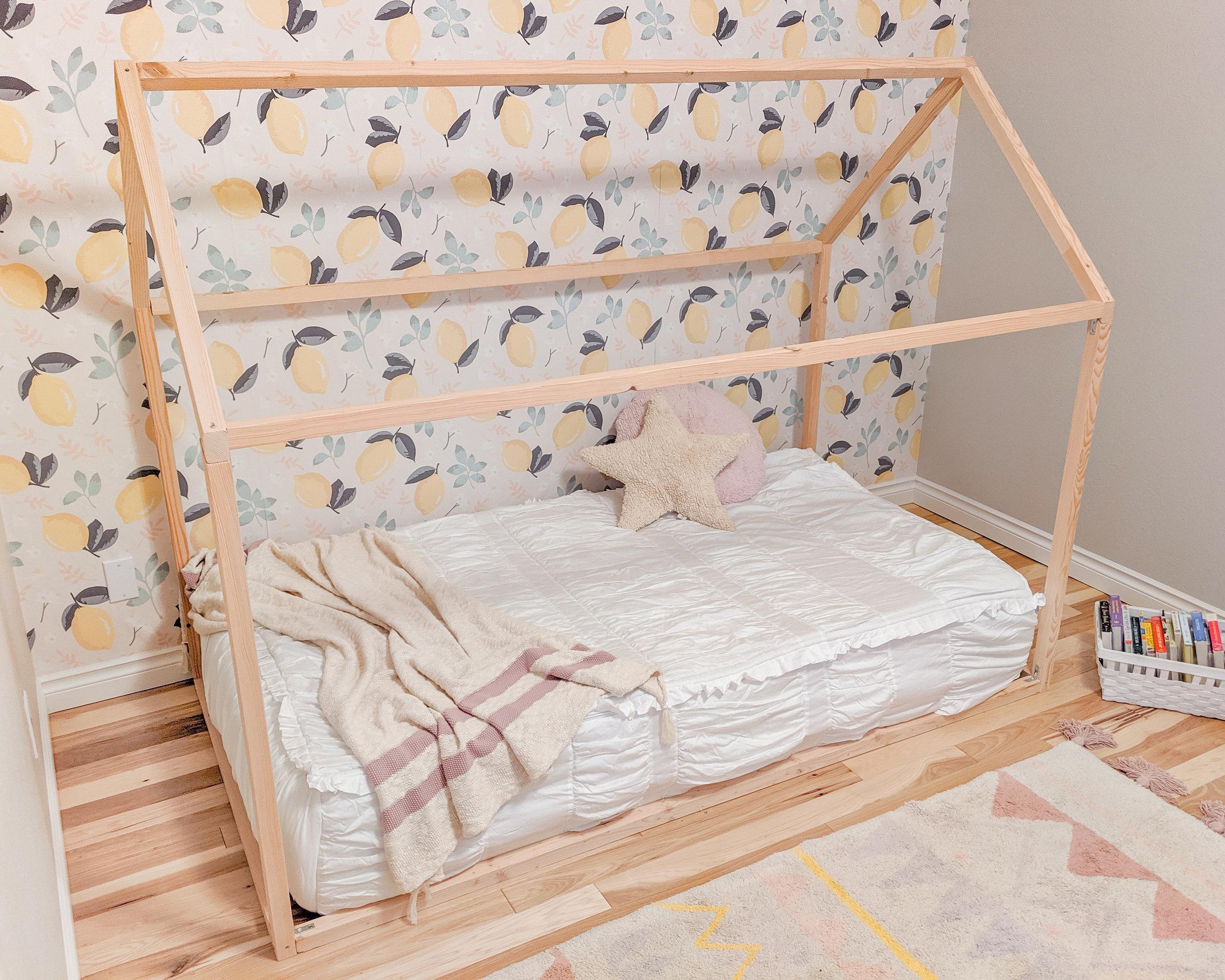 House Frame Floor Bed Toddler Girl's Room