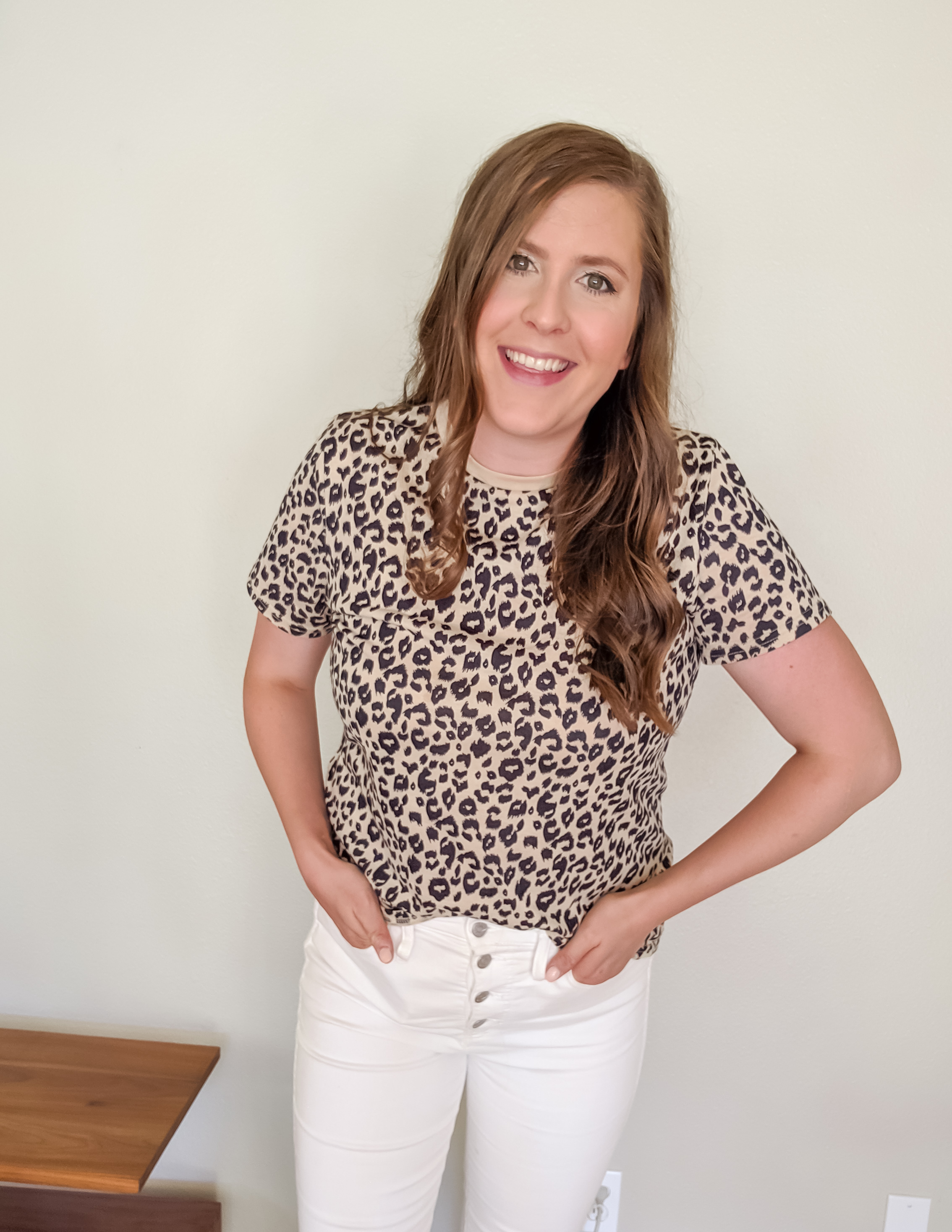 Leopard tee outfit amazon fashion finds madewell button fly best highwaisted jeans