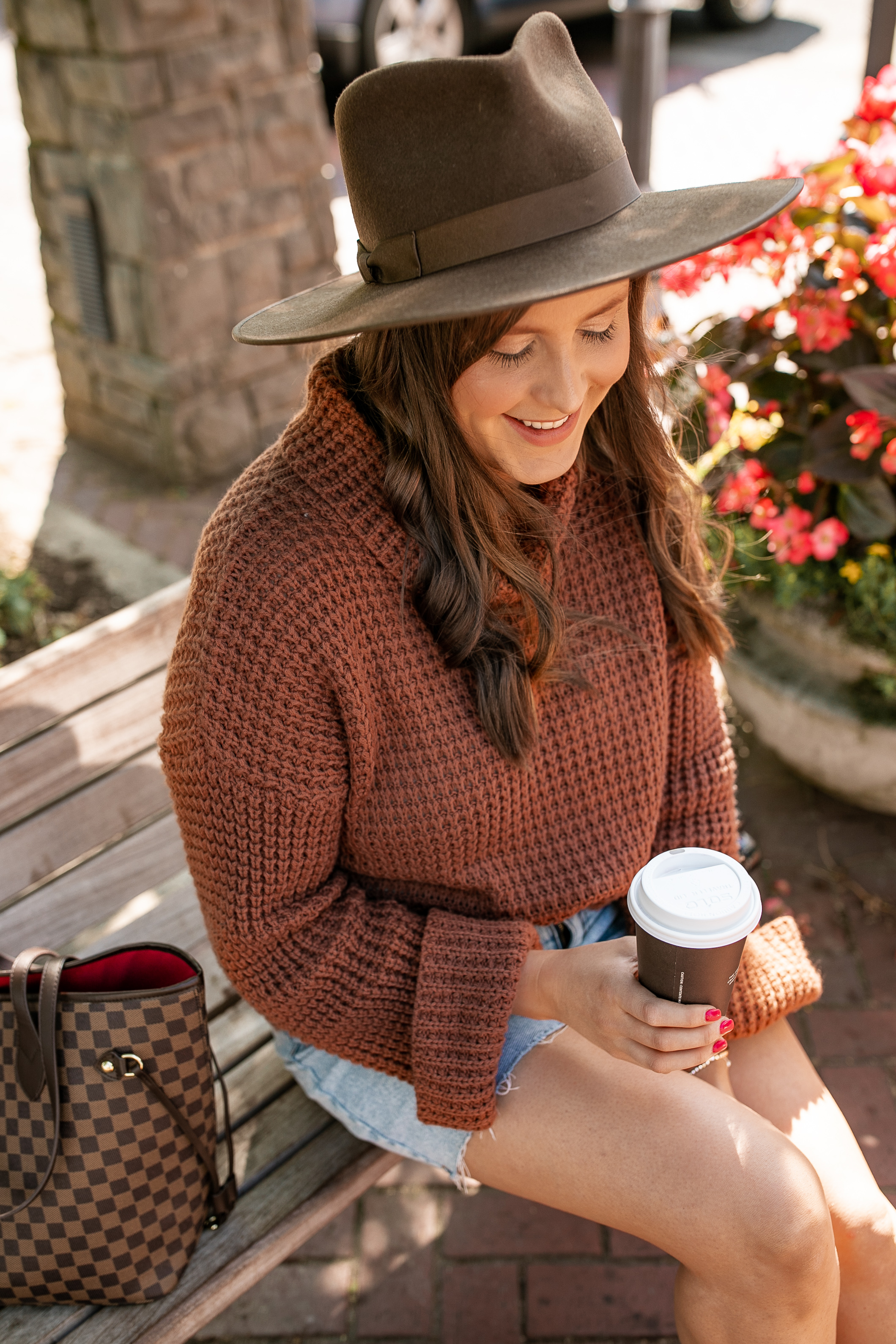 Brown Wide Brim Hat and Chunky Knit Sweater @stylebyjulianne