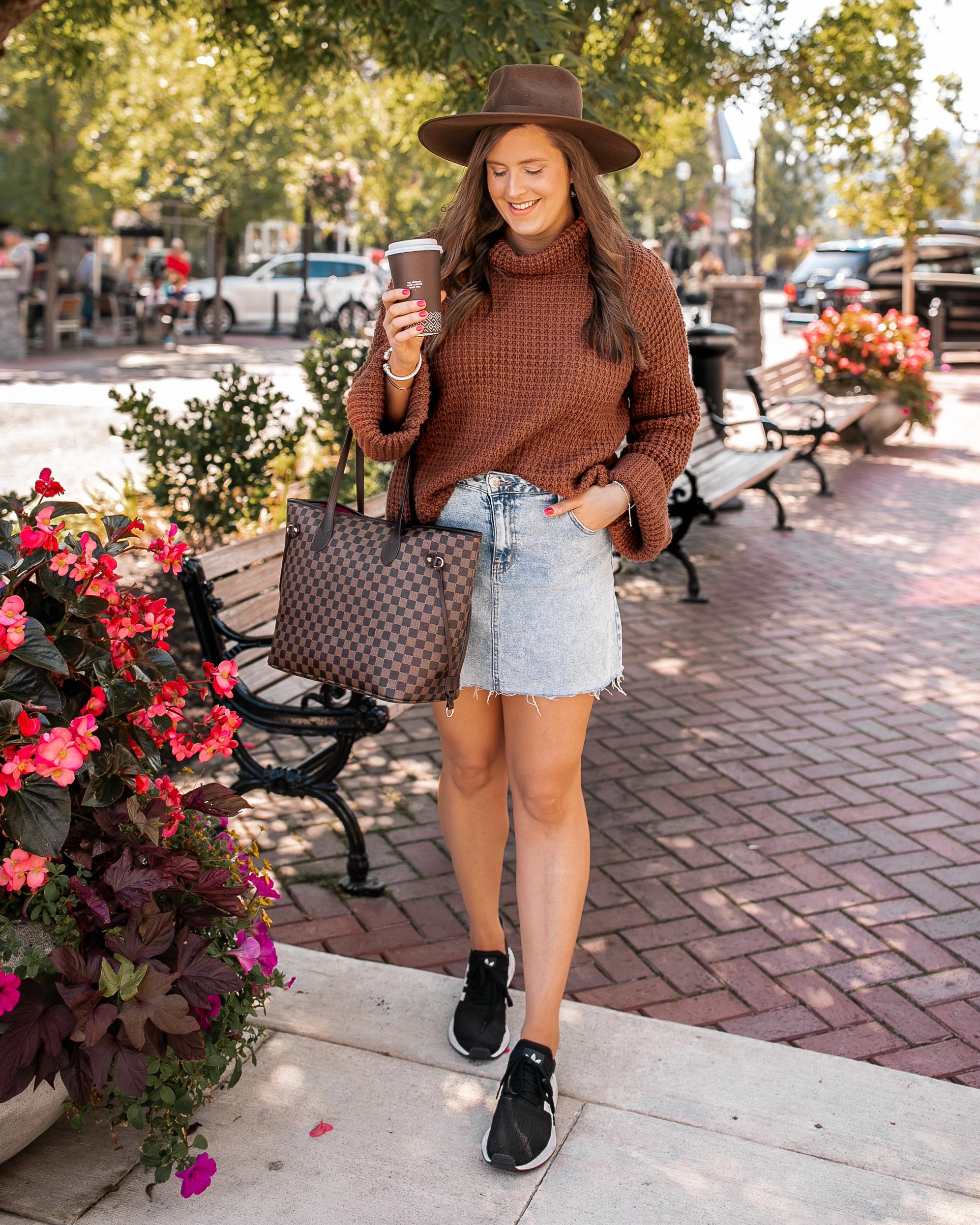 Denim Mini Skirt Athleisure Outfit @stylebyjulianne