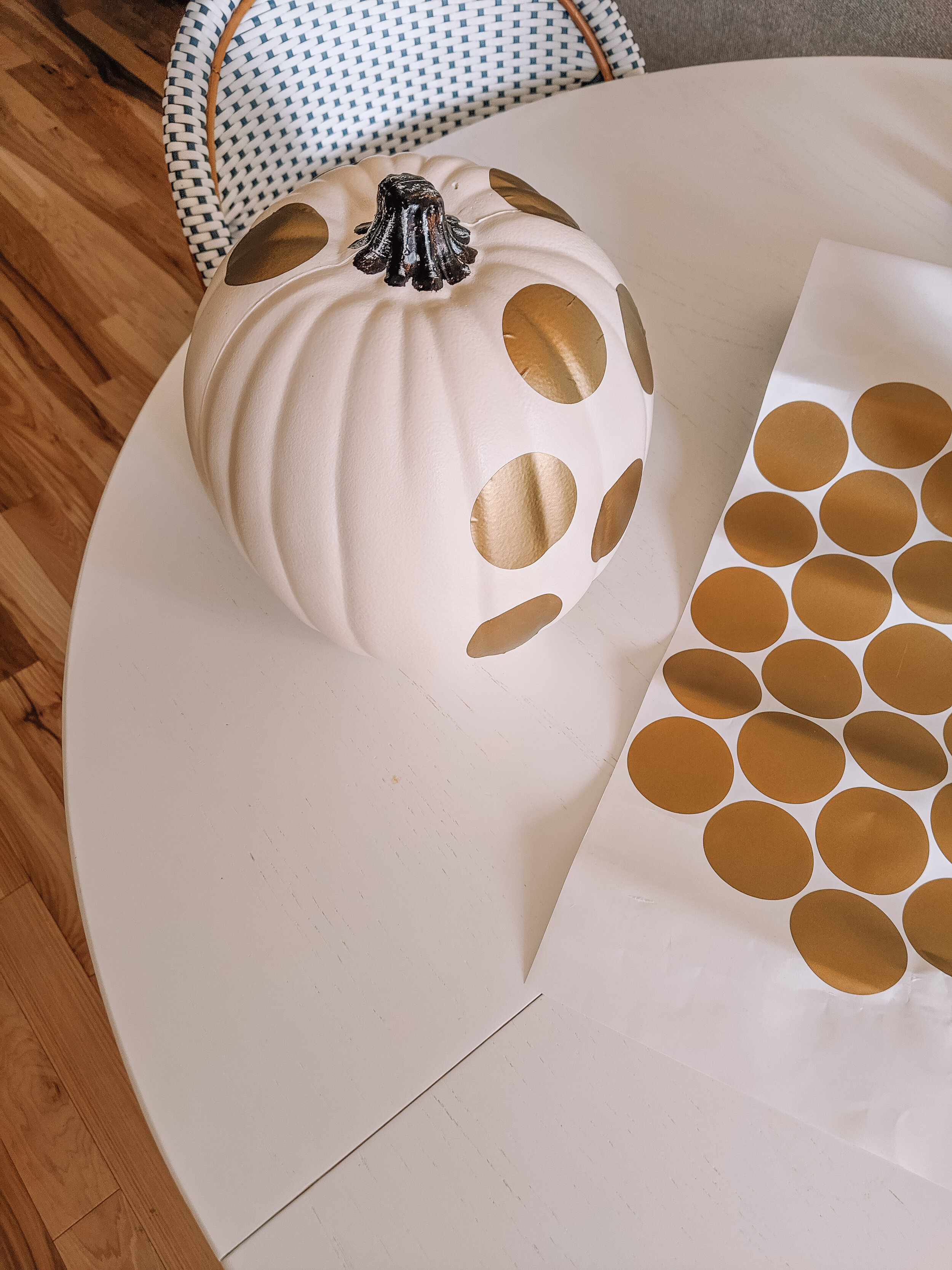 Pumpkin Decorating DIY - White with Gold Polka Dots