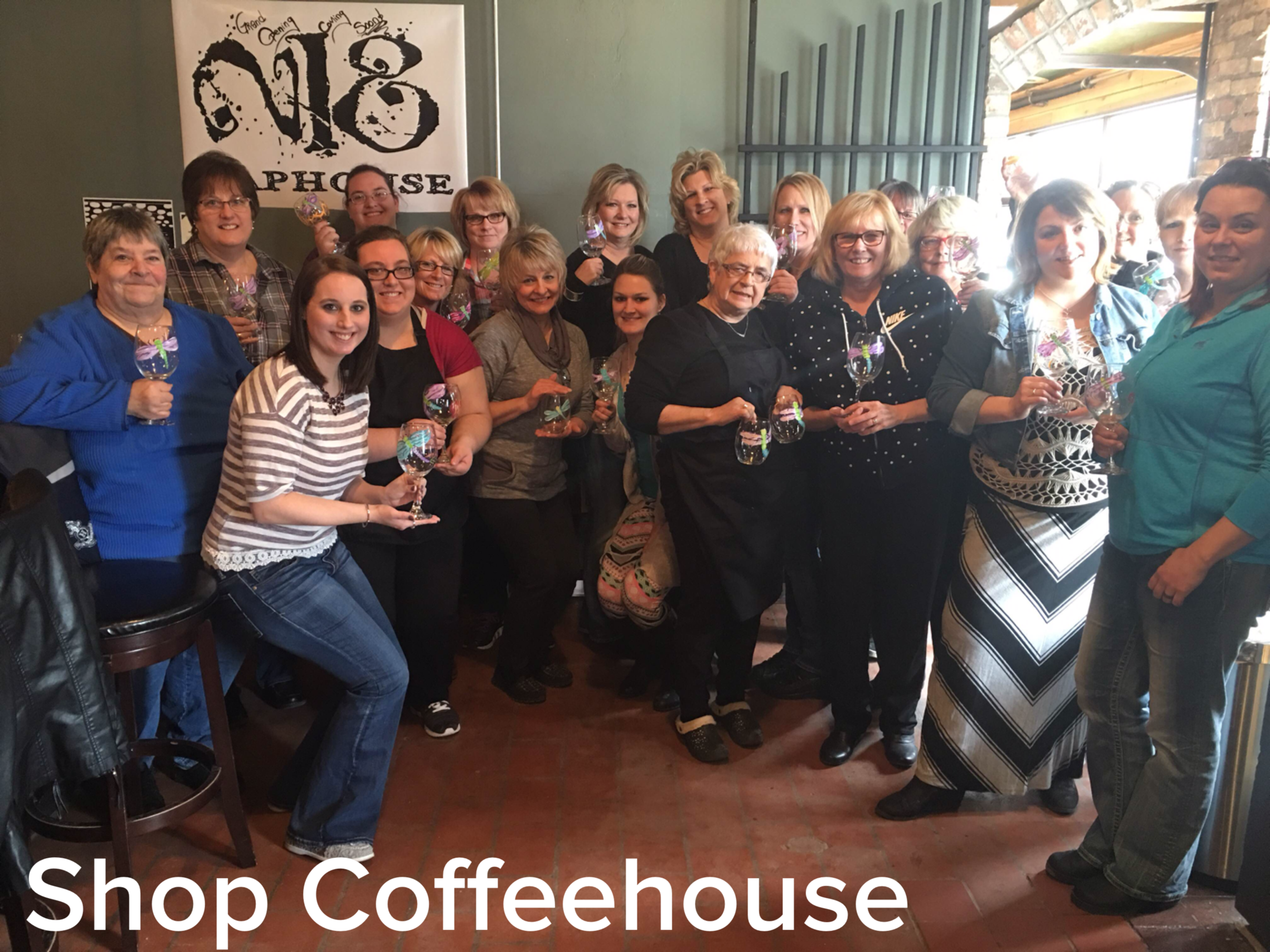 The Shop Coffeehouse wine glasses