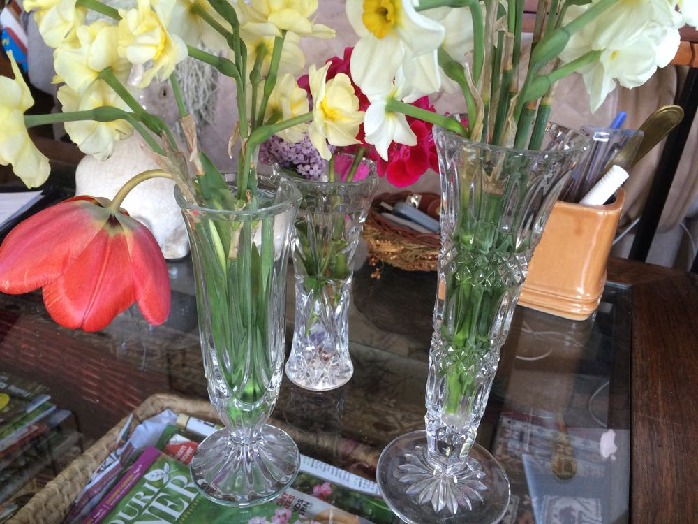 My collection of cut glass flower vases helps flowers get along on my coffee table.