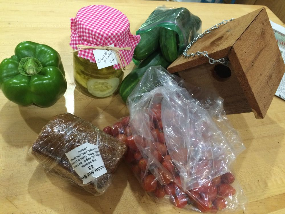 Some of the bounty I picked up at Rolla's Farmers Market including a new handmade wren house.