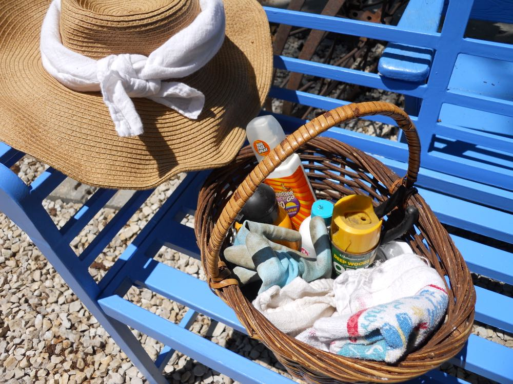 My summer gardening basket of must haves sits by my den door so I don't forget things.