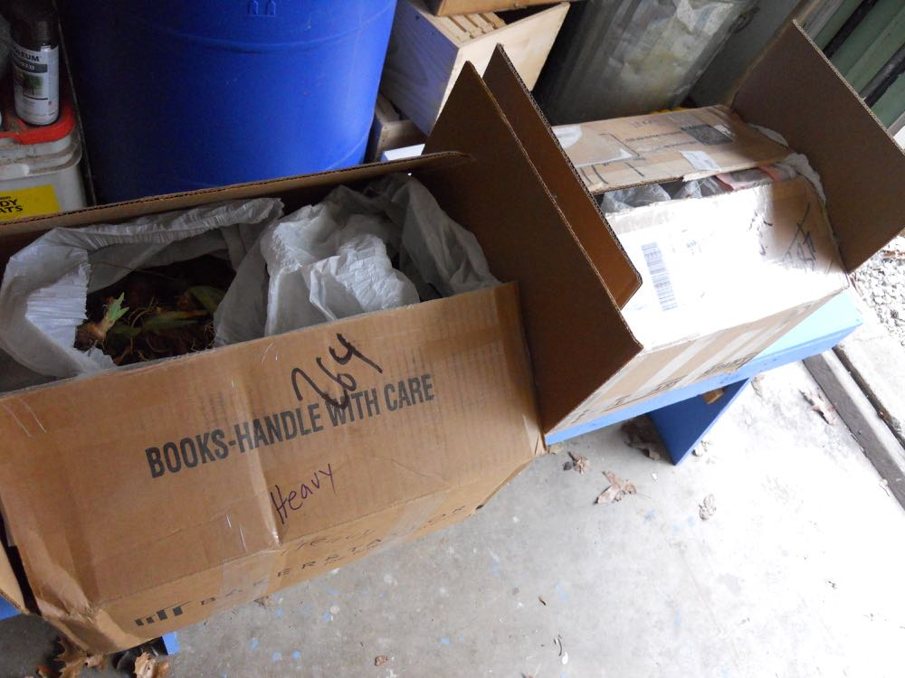 Two boxes of bulbs from Virginia weighing 70 lbs ready to vacation in my Missouri garden.