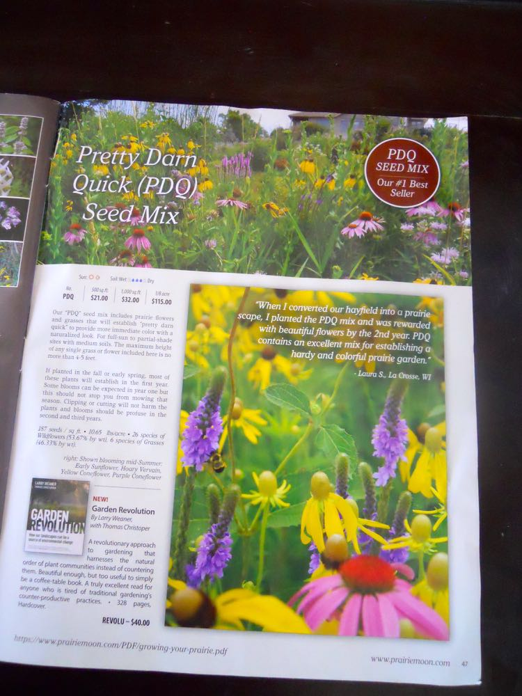 Prairie Moon Nursery native plant catalog features quick seed mixes for pollinators.
