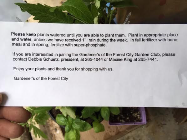 Note to all shoppers at Gardeners of the Forest City plant sale. (Photo by Charlotte Ekker Wiggins)