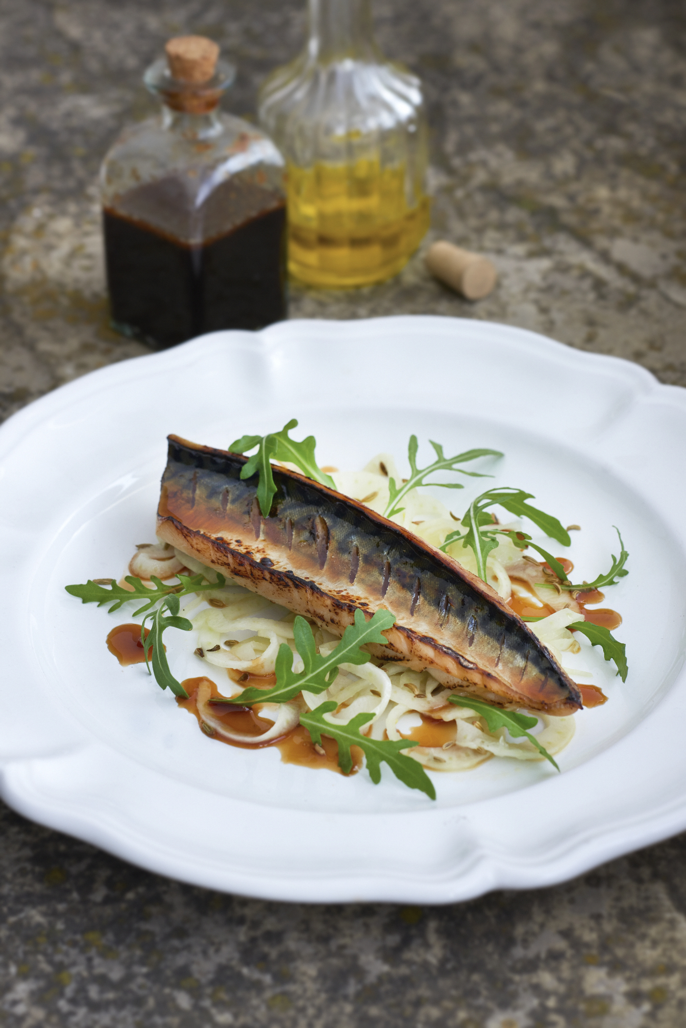 FILLET OF MACKEREL, SHAVED FENNEL SALAD AND SOY LIME GLAZE  Photograph © Jean Cazals 2015.