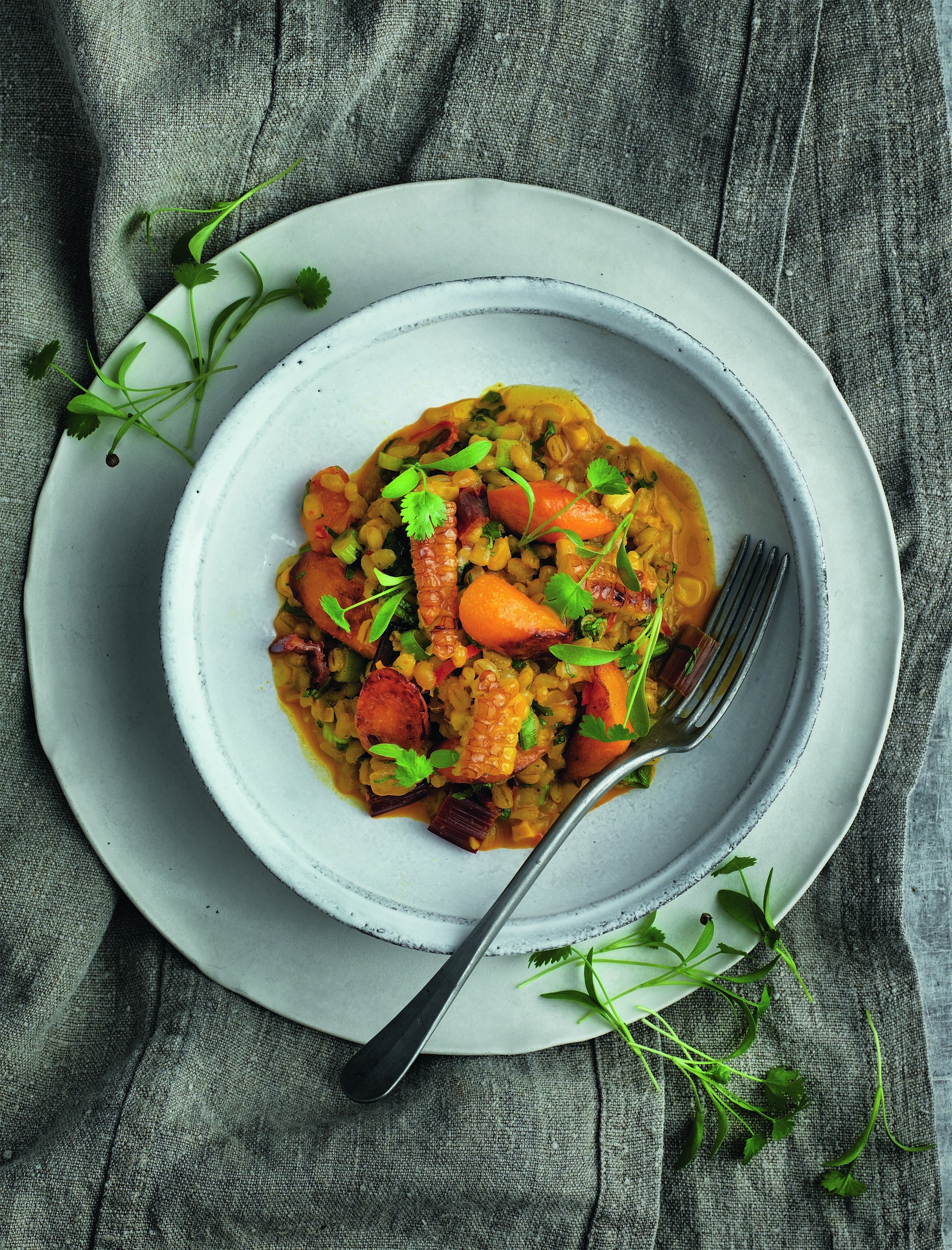 KEW ON A PLATE - CARROT, CUMIN AND BARLEY STEW (SUMMER)  Photograph © Jean Cazals 2015.