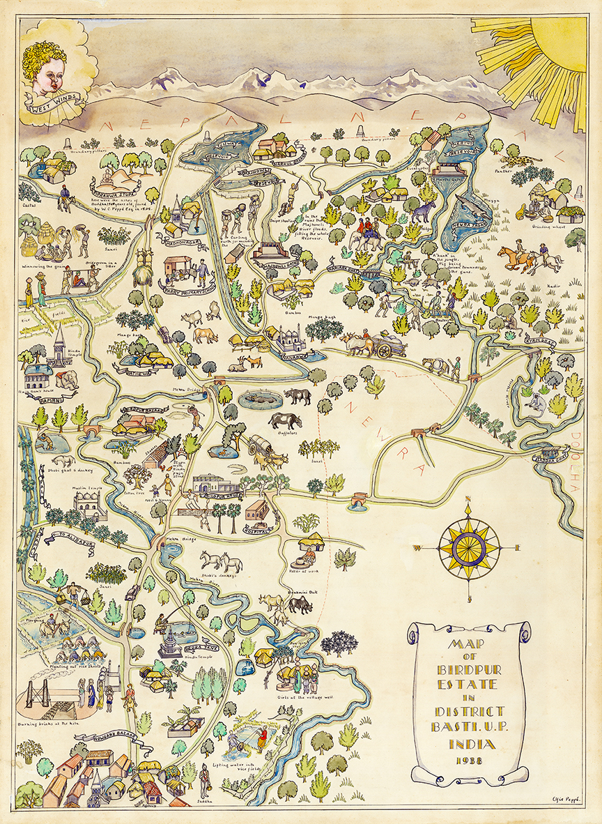 Illustrated map of the birdpur estate by Elfie Peppé 1938 (Picture courtesy of Neil Peppé)