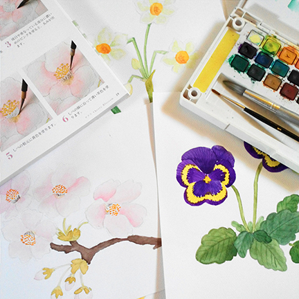 I bought a step-by-step watercolor painting book from Japan and I use that as a guide.