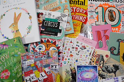 My weakness:books, magazines, stickers and prints. This is only about 5% of my entire collection. I am a hoarder of cute stuff.