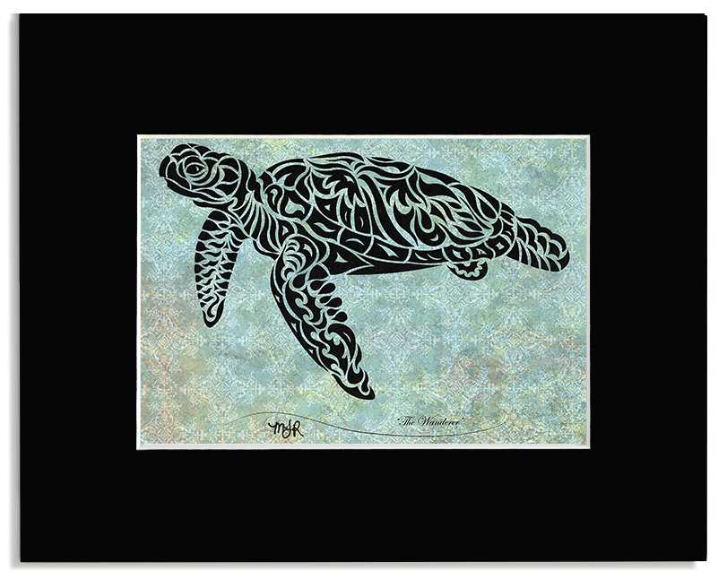 The Wanderer - Abstract, Tribal Turtle Art Print