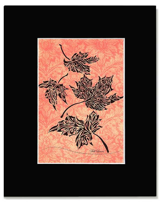 Fall Leaves - Abstract, Tribal Maple Leaves Art Print