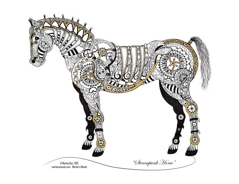 Steampunk Horse - Copyright 2015 by Merlee Bos, All Rights Reserved.