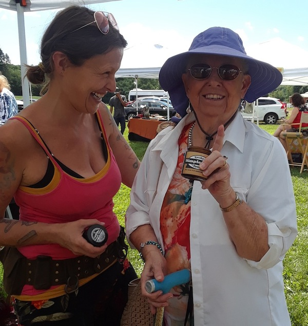 Vanessa shares her salve with Jean at the West Windsor Ice Cream Social. Jean took home a Simple Salve. Be like Jean.