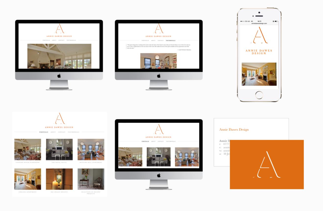 Annie Dawes Design - Interior Design Website and business card design.