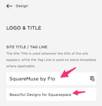 Site Title and Tagline Squarespace