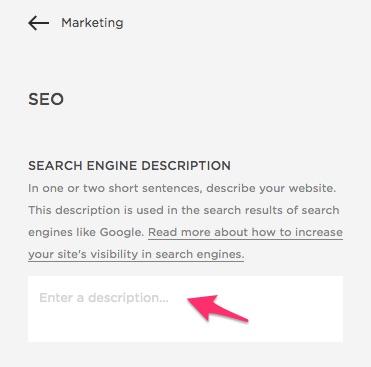 search engine description Squarespace