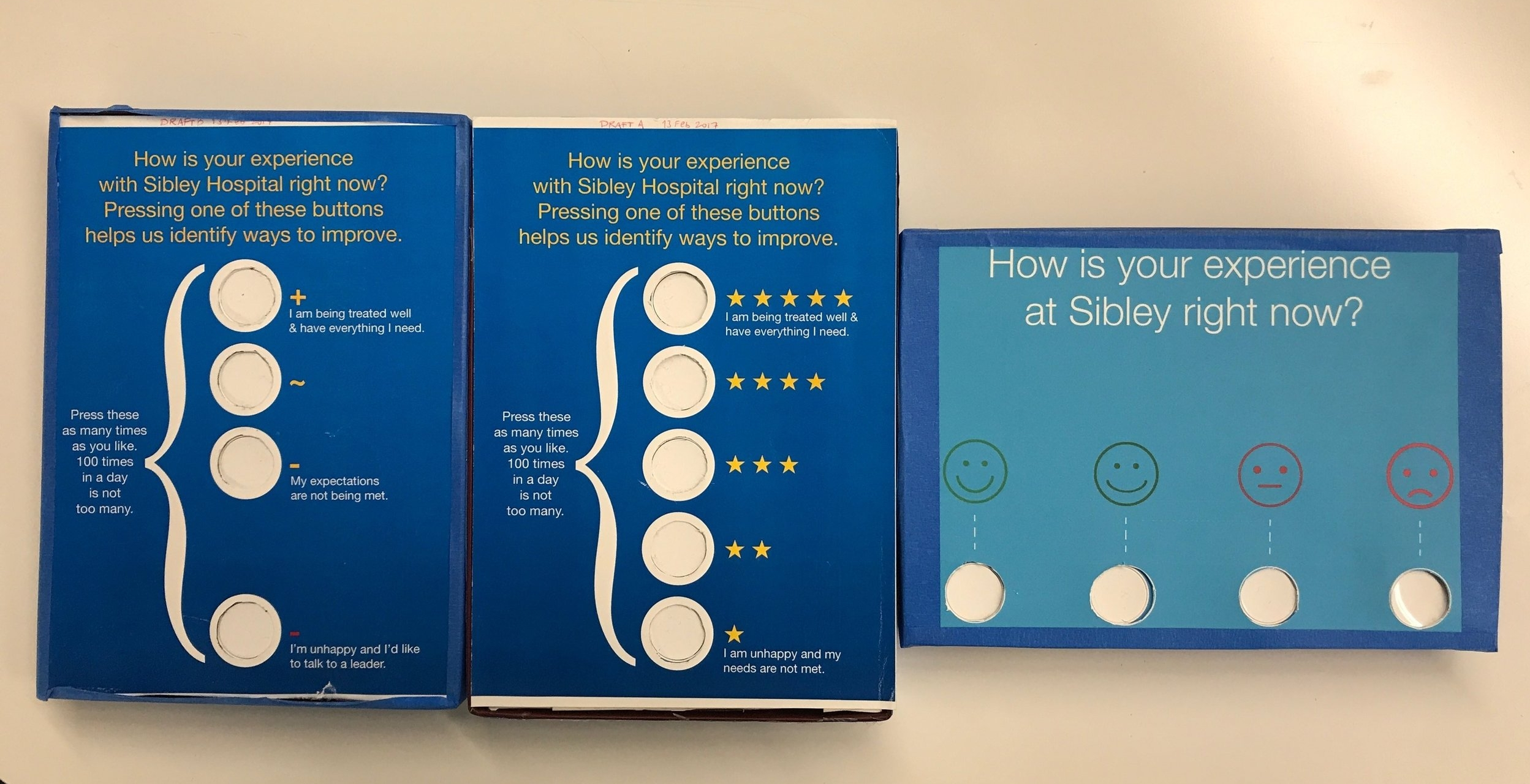 version 1, 2 and 3 - IoT button-powered patient feedback boxes