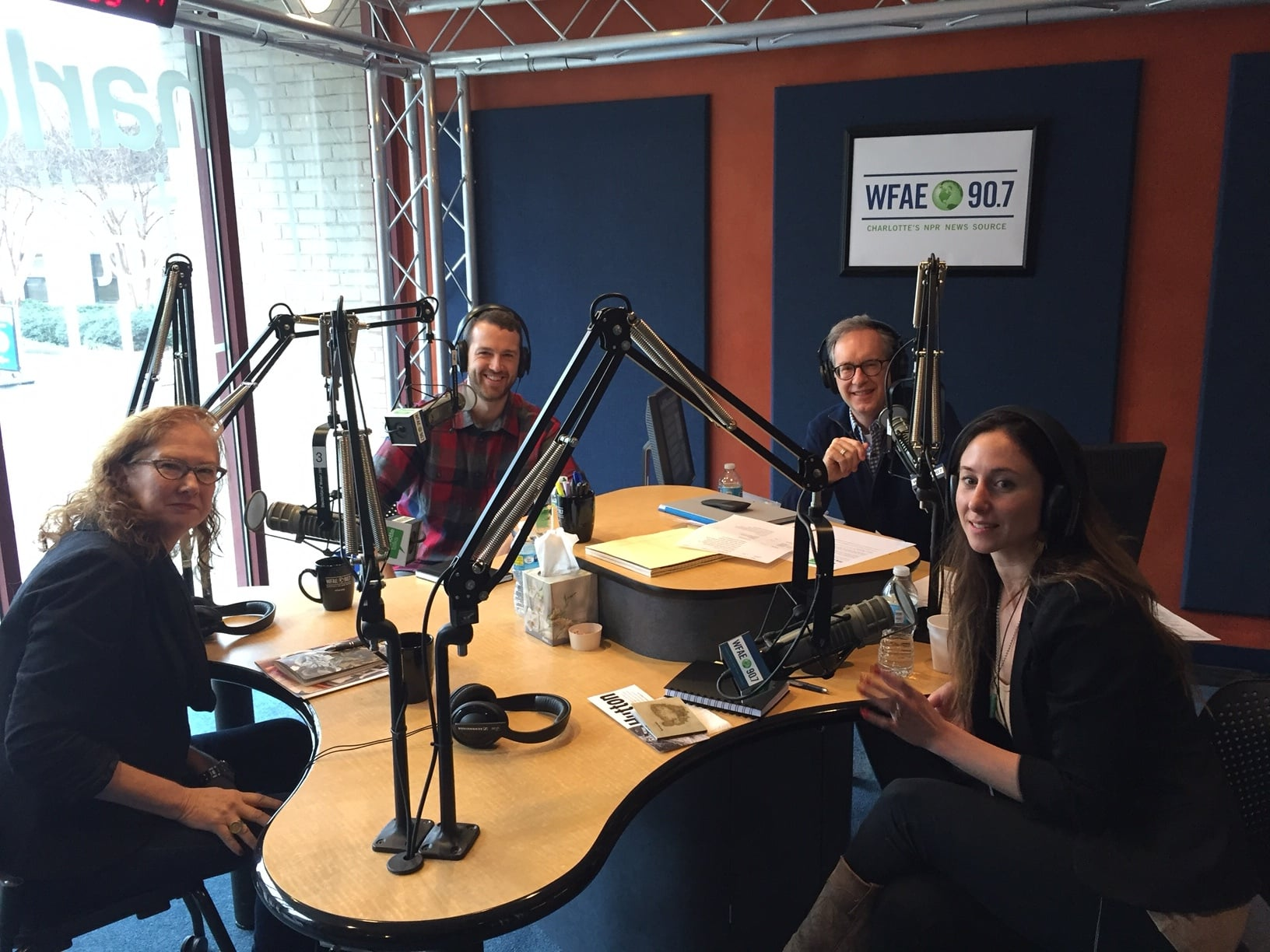 Myself with Kay Tuttle, Mike Collins, and Laurie Schorr at the WFAE station in Spirit Square, Charlotte, NC on Friday January 8th, 2016.