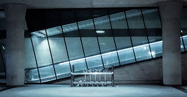 Empty spaces  #work #jesperjustesen #monocromatic #cph #trainstation #platform #art #love #escalator #carts #night #copenhagen #dsb #delays