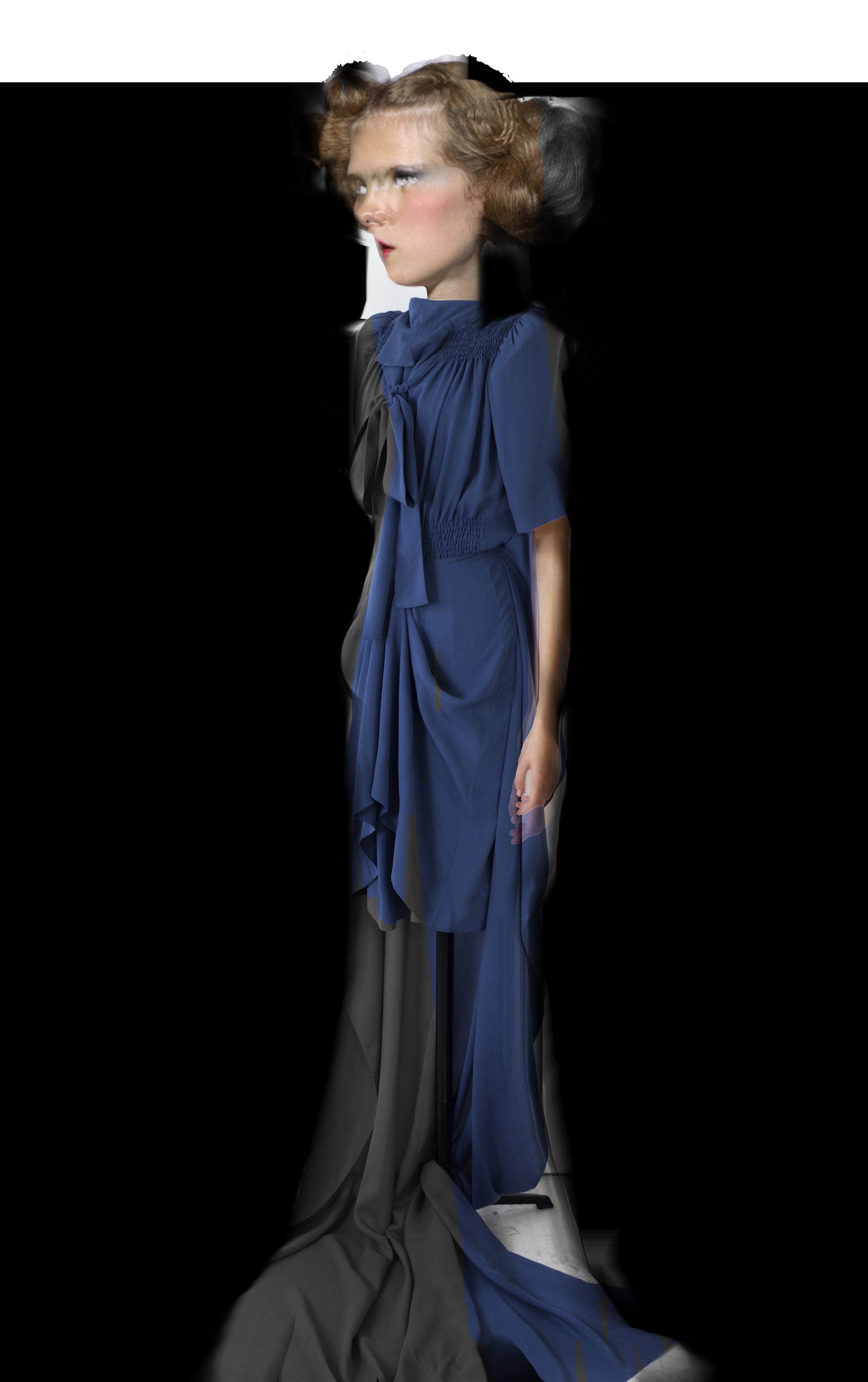 DRESS label SS16 collection INTO COLOUR: PAINTBOX DOLL wears 07 CORNFLOWER/ Short Sleeve Flat Pack Sculpture Maxi