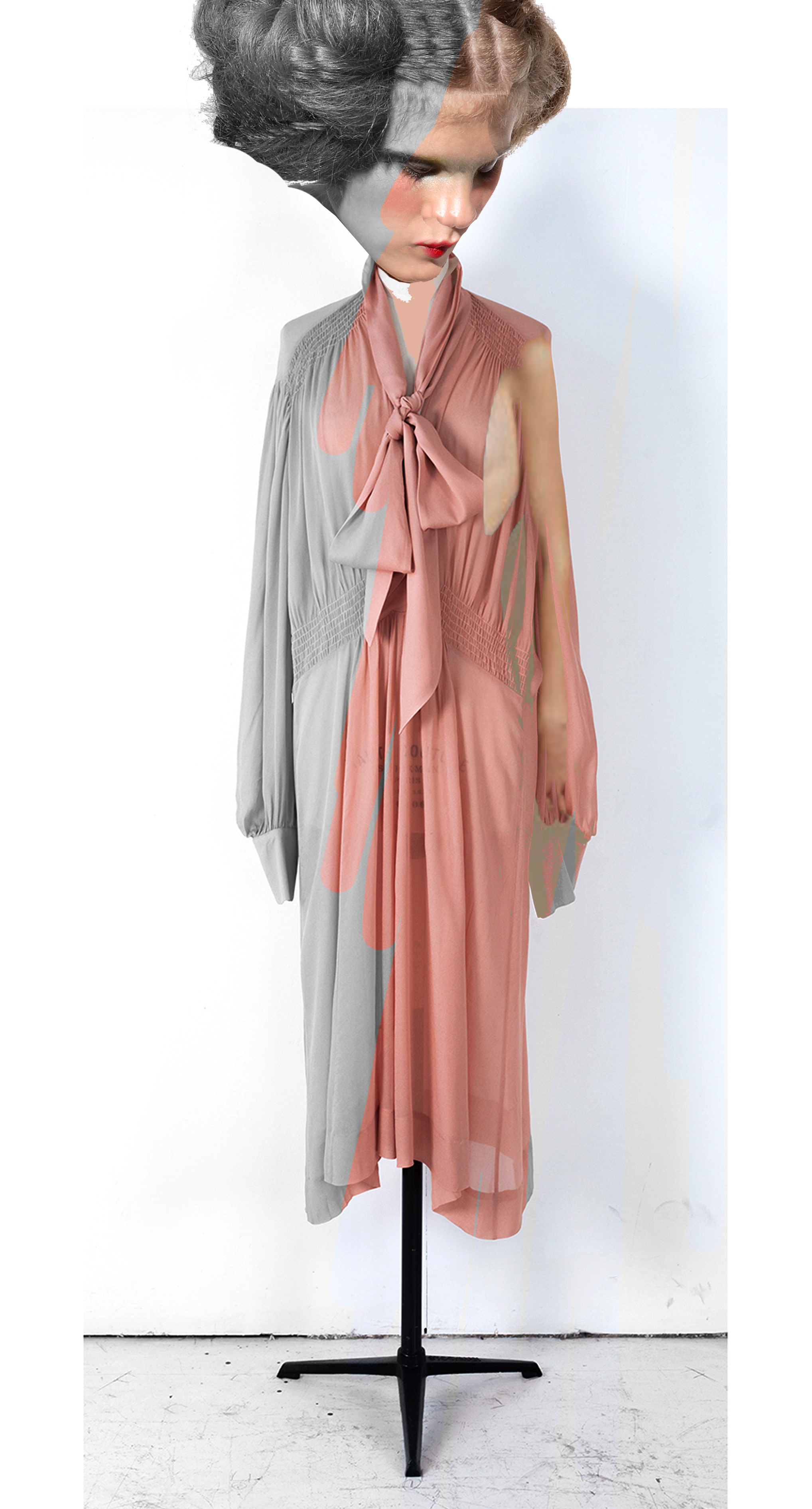 DRESS label INTO COLOUR SS16 collection: PAINTBOX DOLL wears 03D APRICOT/ Long Sleeve Midi Dress