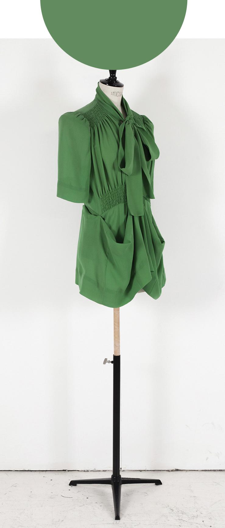02 BRIGHT GREEN/ Short Sleeve, Adaptor Blouse/Knee length Dress