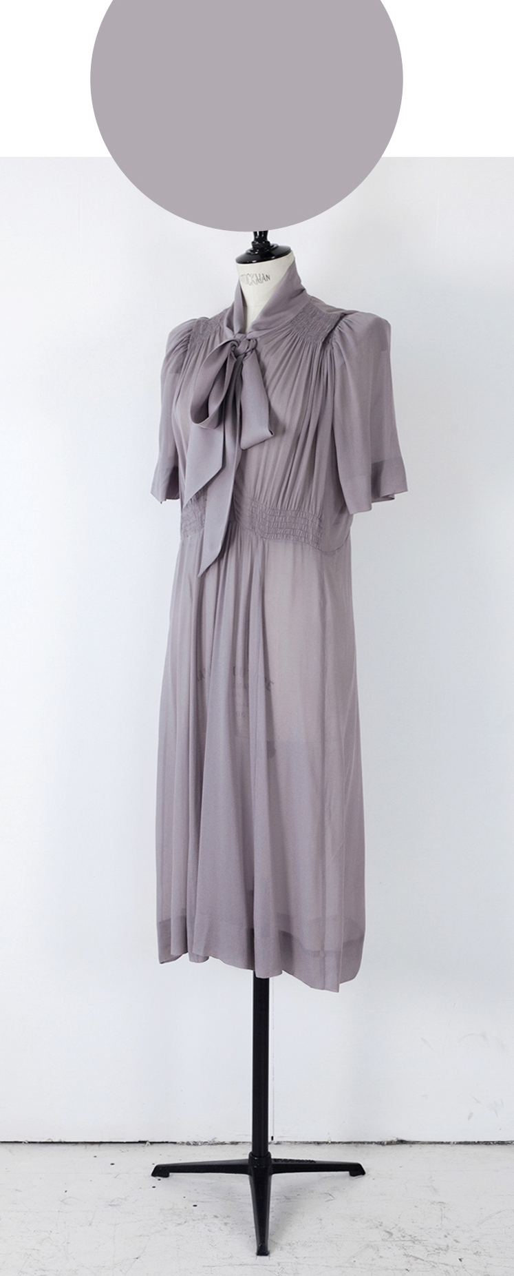 01 DIRTY LAVENDER/ Short Sleeve Knee length Dress