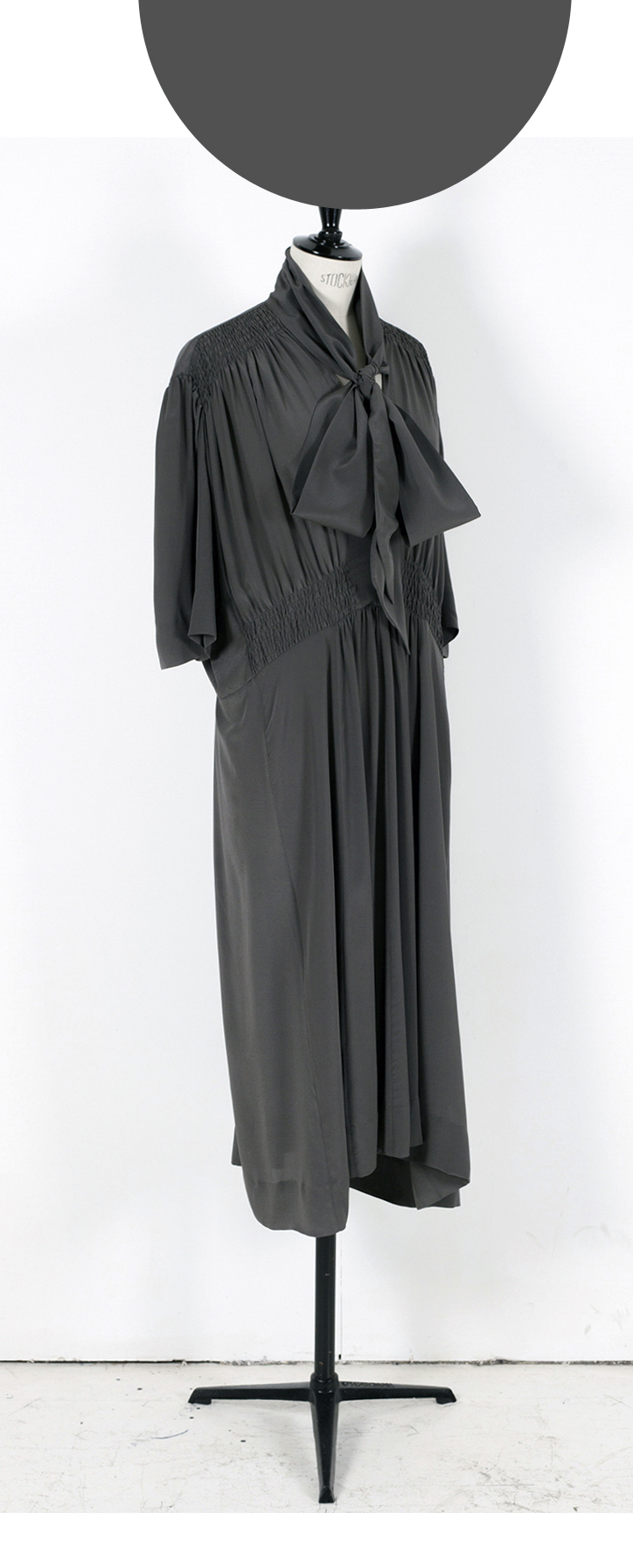 03 DARK GREY/ Short Sleeve Oversize Midi Dress