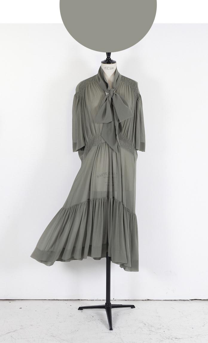 03A PALE KHAKI/ Short Sleeve Midi Frill Hem Dress