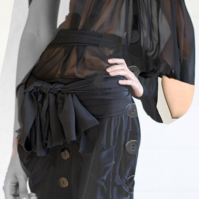 DRESS ltd BLACK DRESS MUSEUM DOLL digital distortions, close up