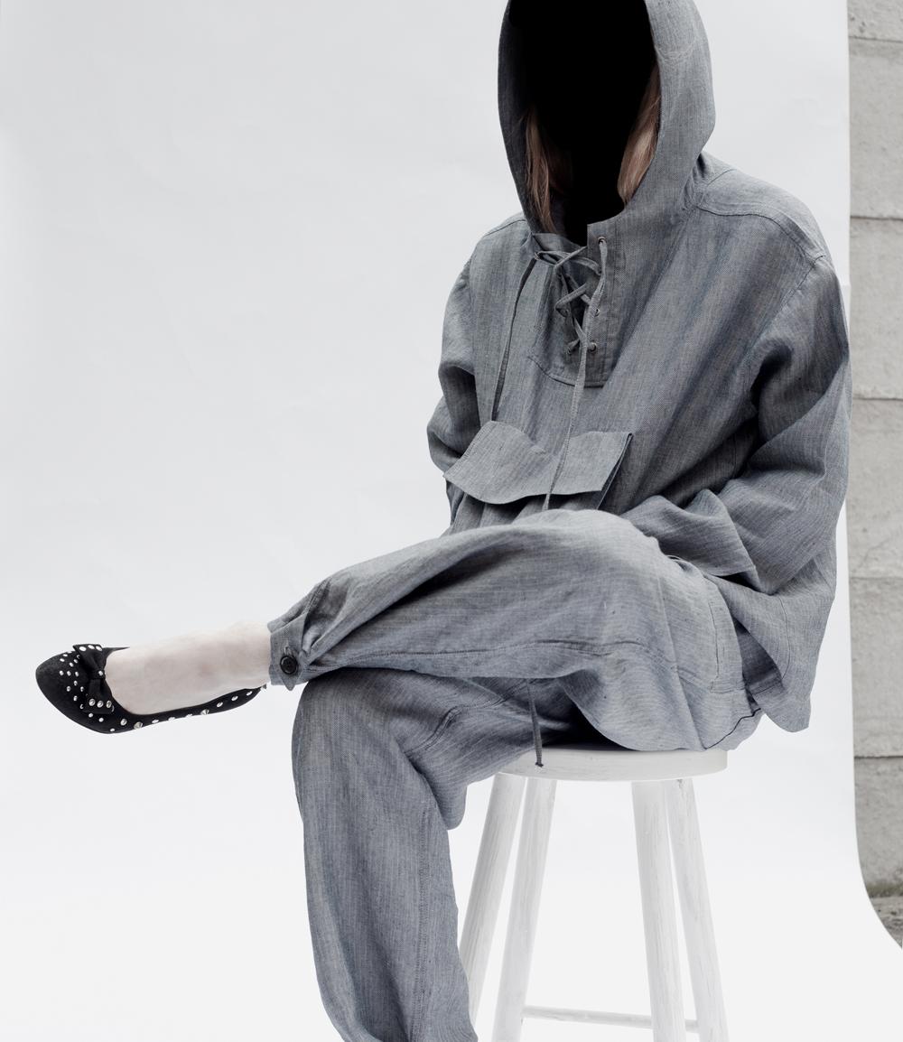 03) Scavenged Hoodie  Herringbone Chambray/end of line fabric