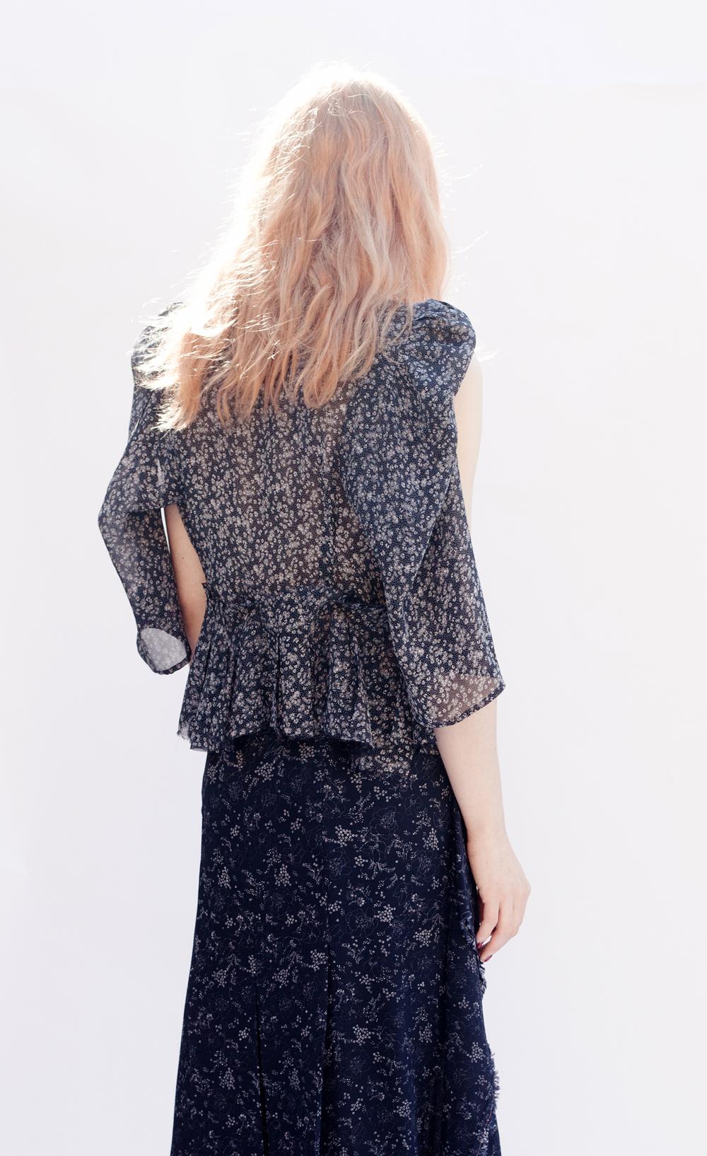 DRESS-ltd NAVY PRINT REMNANT Broken Dress Jacket & Inside Out Emerging Skirt