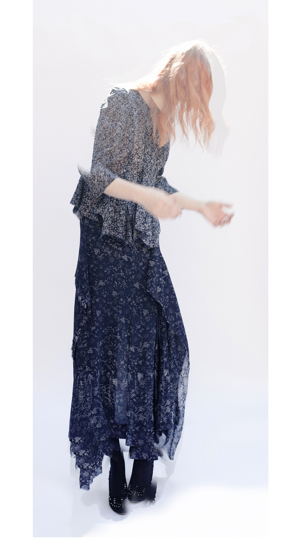 DRESS-ltd NAVY PRINT REMNANT Broken Dress Jacket & Inside Out Emerging Skirt, worn sleeveless