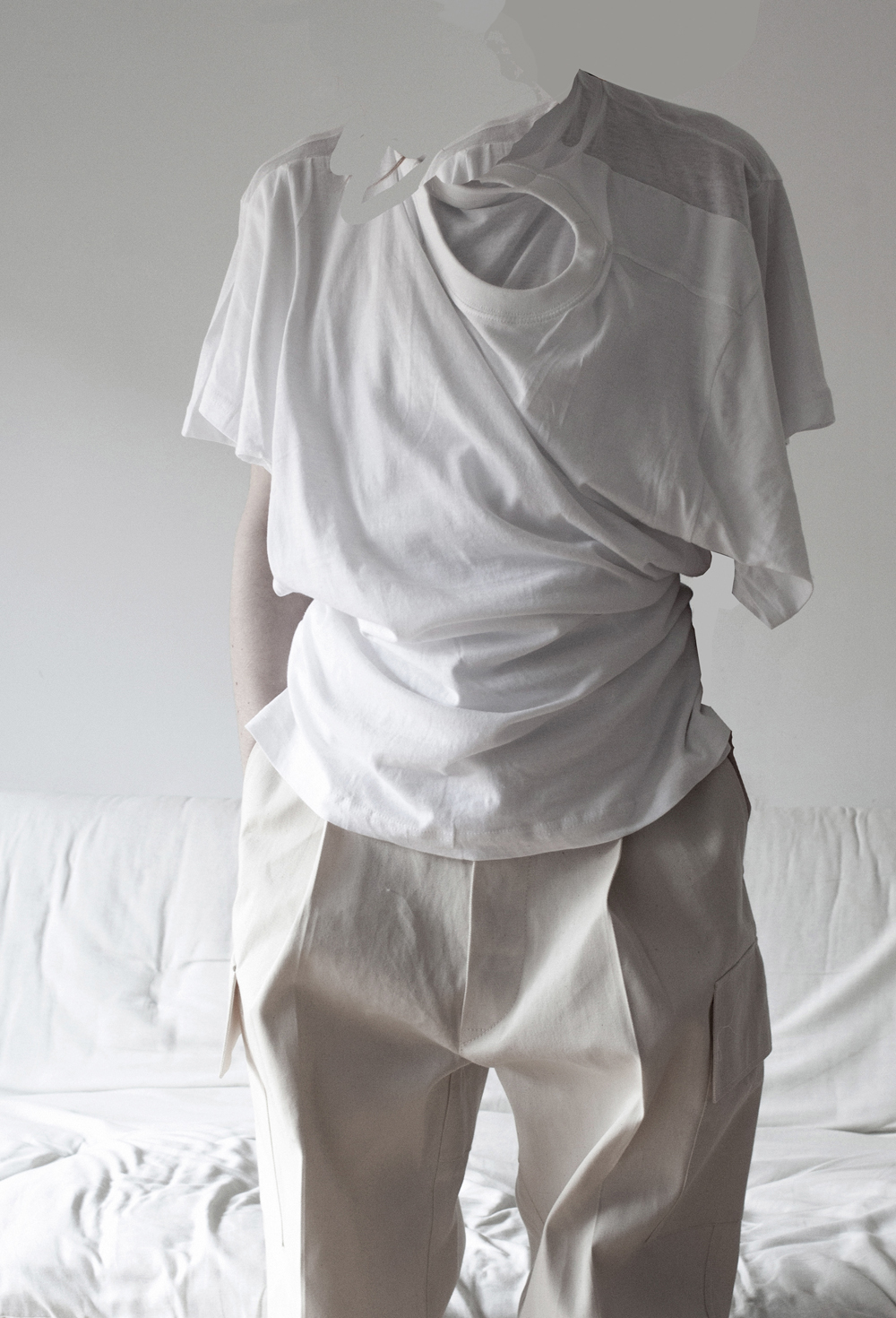 06) Inter-dependent T/ White   Each T shirt in the combined garment can be worn as lead garment (by choosing different head and arm holes) as the other T adapts to drape around it.