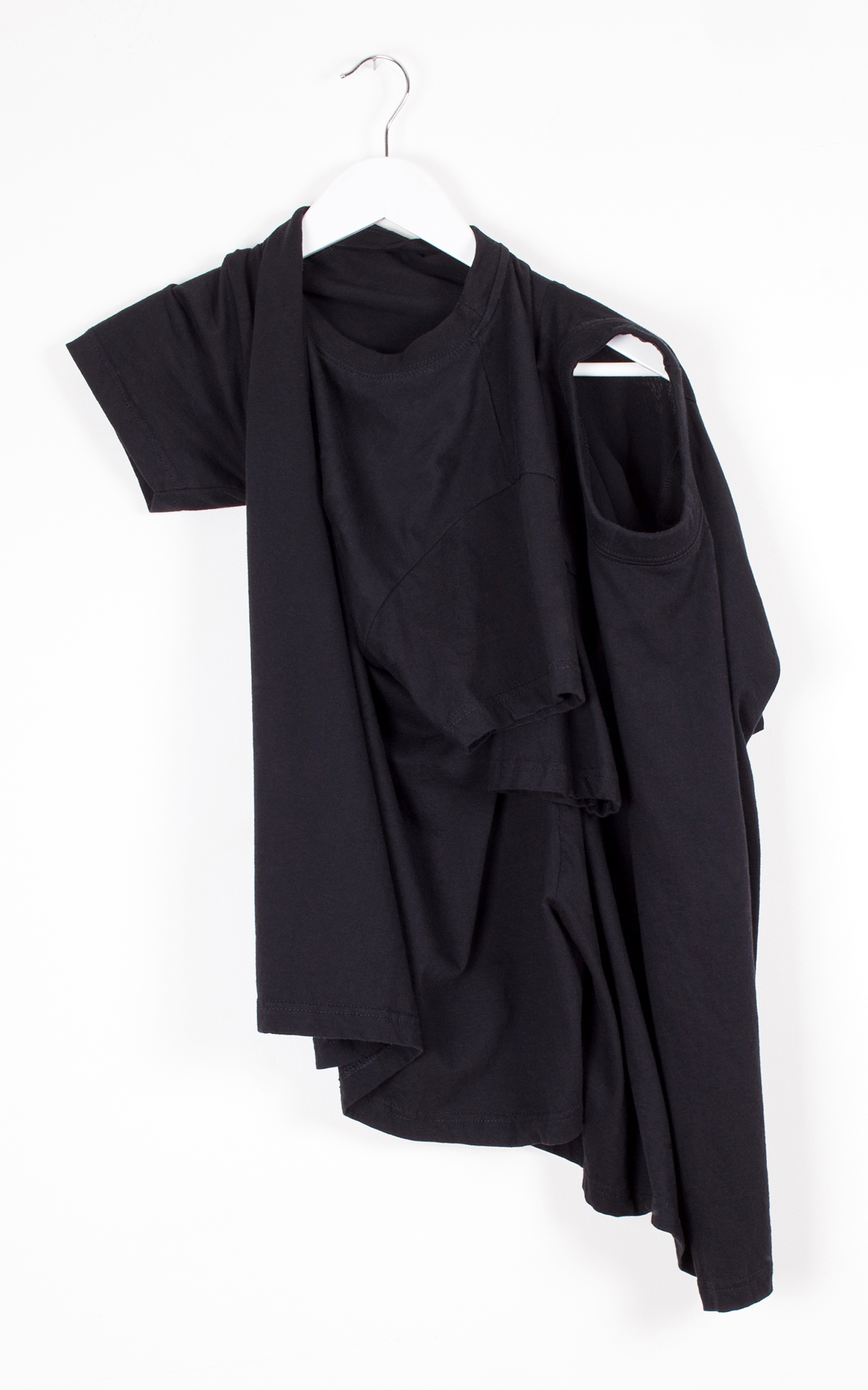 07) Co-dependent T/ Black   Two T shirts cut together  so they cannot be separated,  only rotated for alternative use of head and arm hole, to create different shapes.