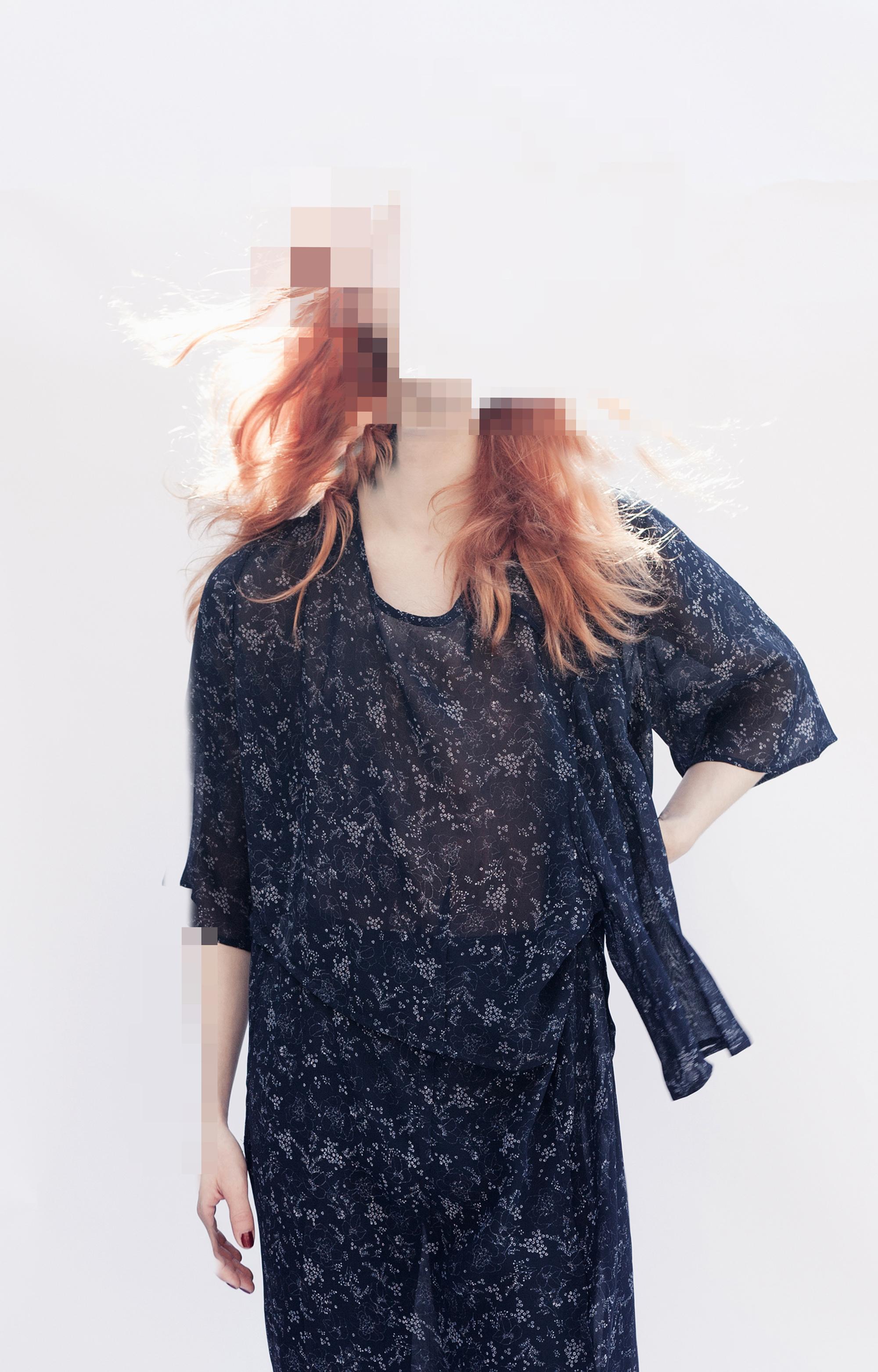 DRESS ltd Navy Remnant Print  Inside-out Oversize Collapsing Dress/Set