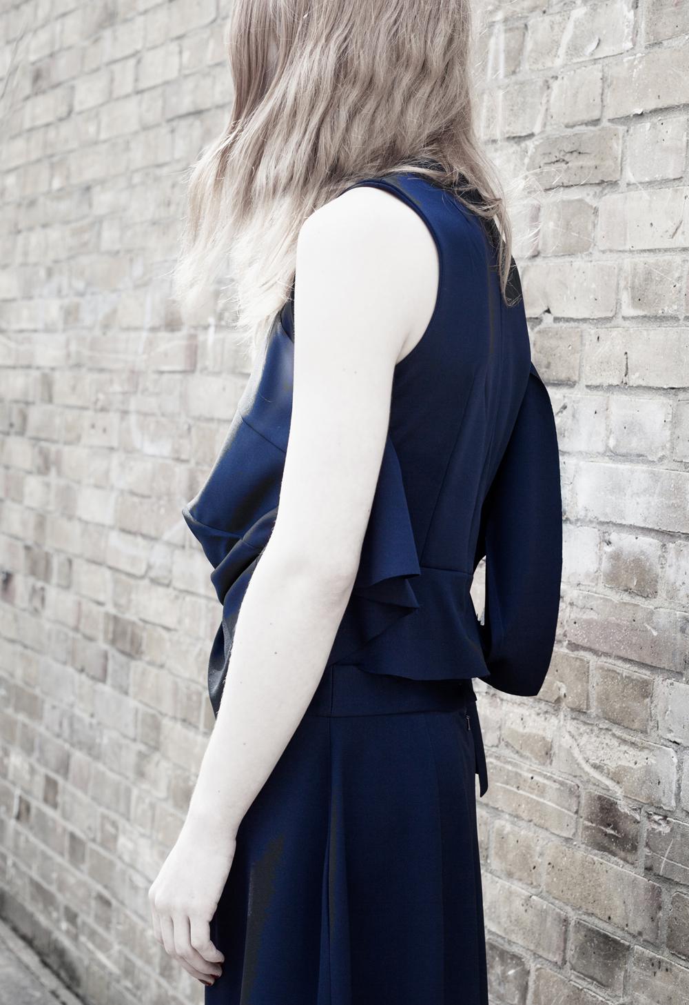 DRESS ltd Navy Polyester Crisis Support Bodice & Half Skirt