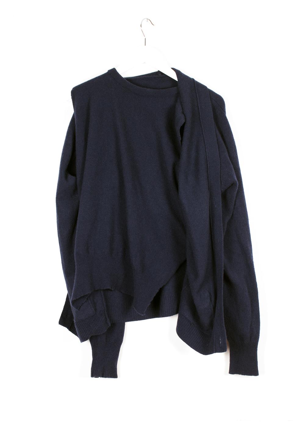 DRESS Reconfigured Knitwear: Navy Inbuilt Twin Set Front 2 #dressltd